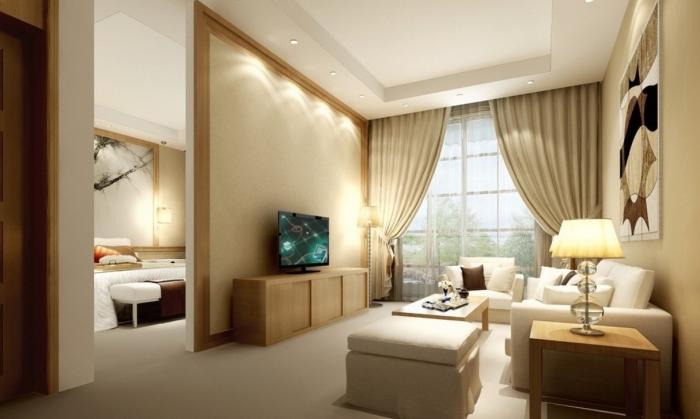 design intérieur contemporain aux couleurs neutres, idée déco salon moderne aux murs peinture sable et plafond blanc