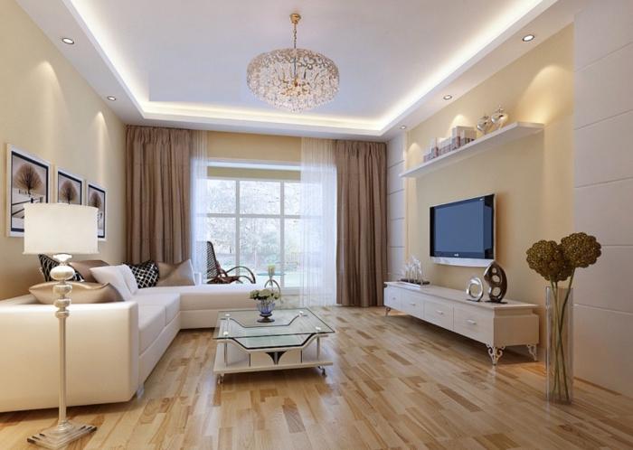 décoration de salon avec peinture murale de couleur creme, exemple de plafond blanc avec éclairage néon et spots led