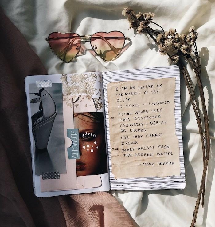 Pages originaux, collages swag images, comment faire un carnet de voyage, originale idée scrapbooking voyage