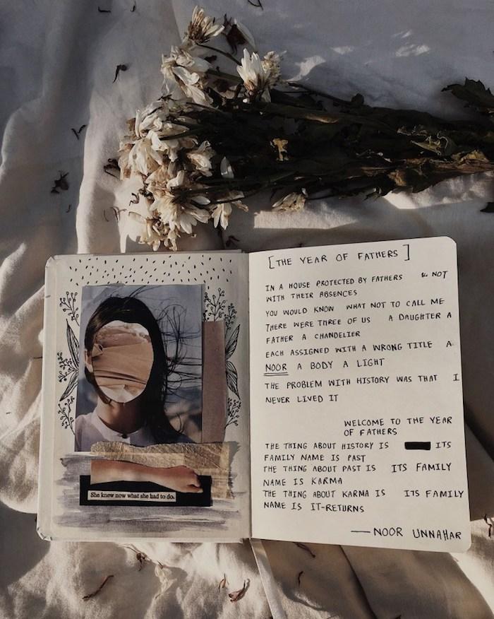 Journal intime avec photos, collages et texte, comment faire un livre, couverture carnet de souvenirs de l'année, bouquet de fleurs sur le lit