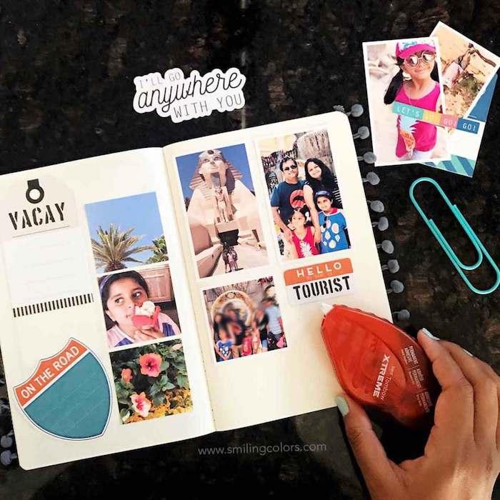Photos de vacances en famille, album scrapbooking, comment faire un livre diy album, page avec photos et petits coupures décoratifs