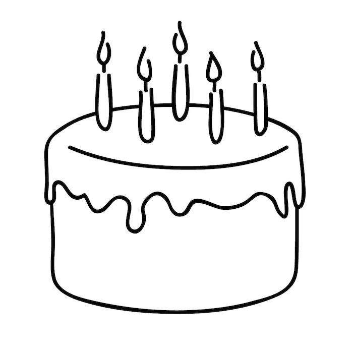 Simple dessin de gâteau à faire soi-même, dessin joyeux anniversaire, coloriage gateau anniversaire