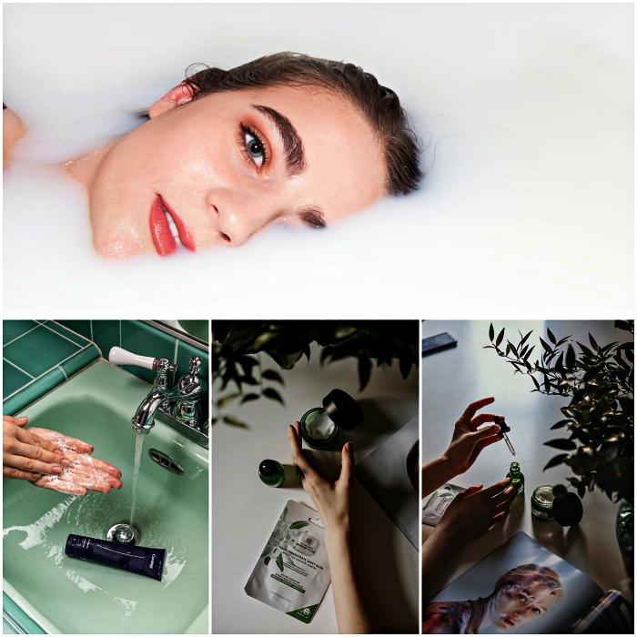 routine de soin visage en quelques étapes simples, nettoyage de peau et application d'un sérum visage