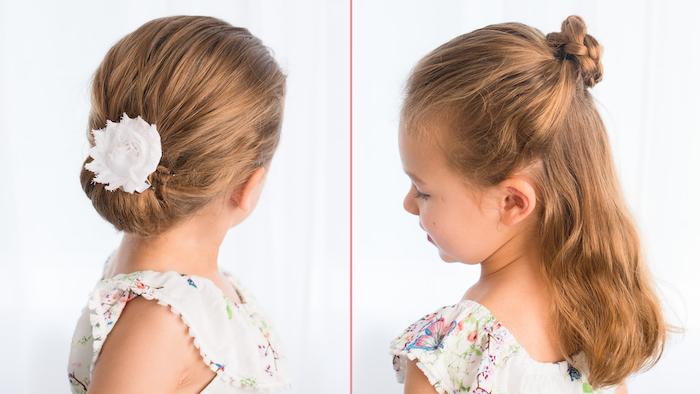 Idée comment coiffer sa fille cheveux longs, chignon ou demi chignon et tresse, belle coiffure enfant, coiffure facile cheveux mi long,