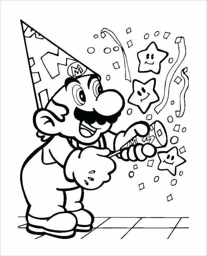 Super Mario célébration anniversaire, dessin d'anniversaire, image joyeux anniversaire, mario et confetti