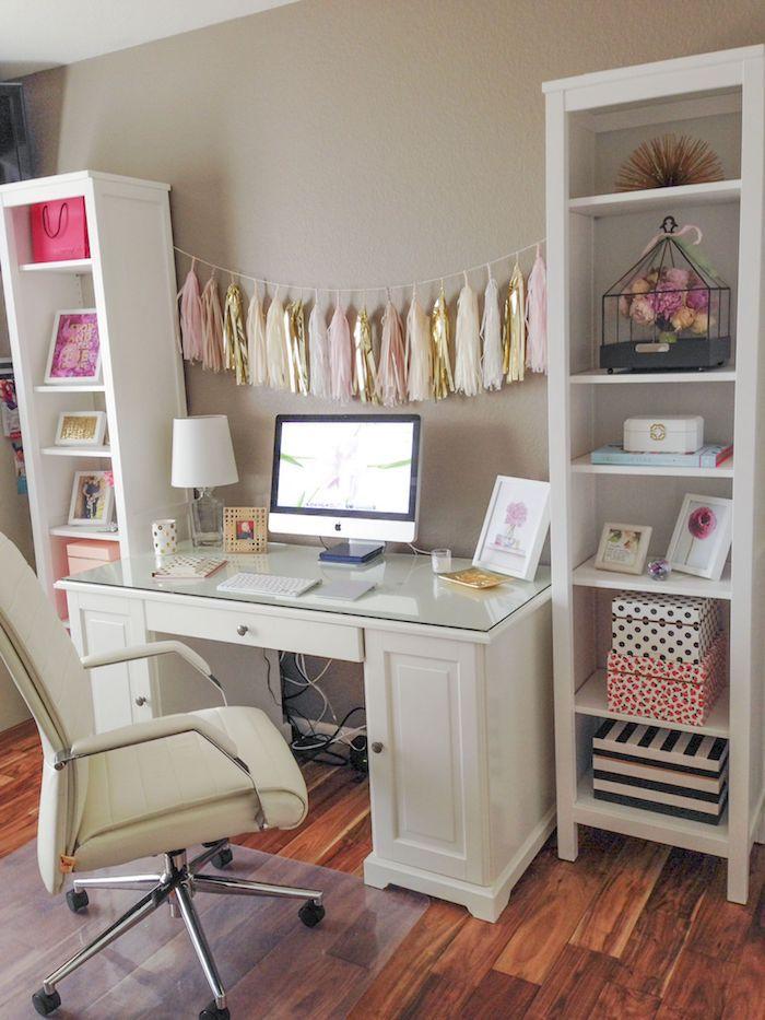 Étagères de rangement blanc décoration de bureau, aménagement bureau chambre