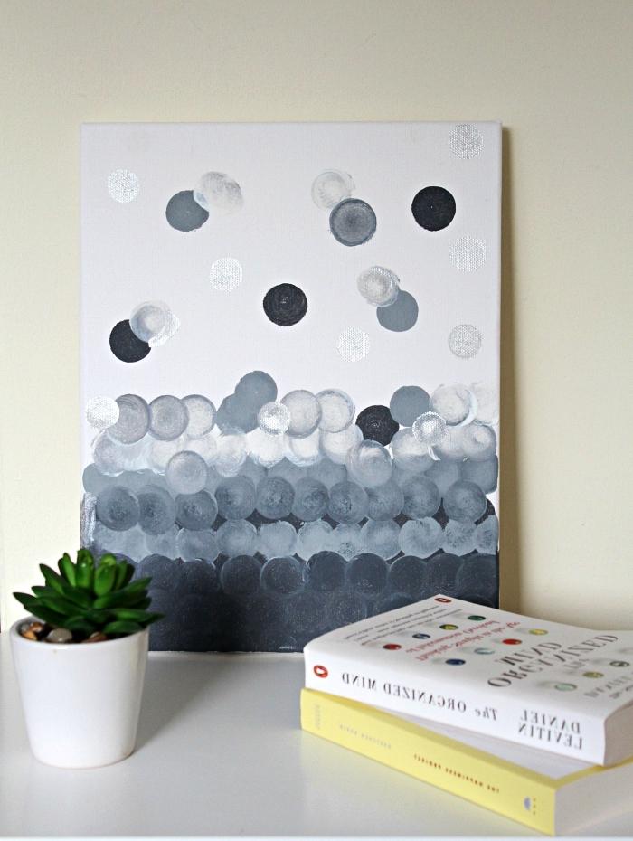 peinture moderne à l'acrylique pour débutants, technique de peinture à l'acrylique au pinceau-tampon