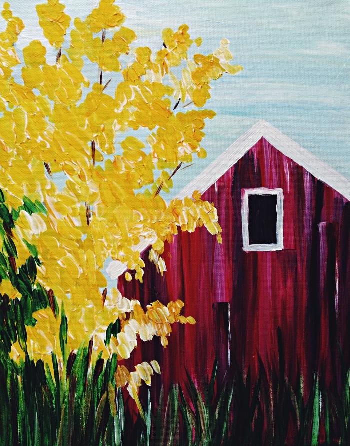 tableau peinture facile pour débuter l'acrylique, tableau peinture maison et arbre paysage d'automne