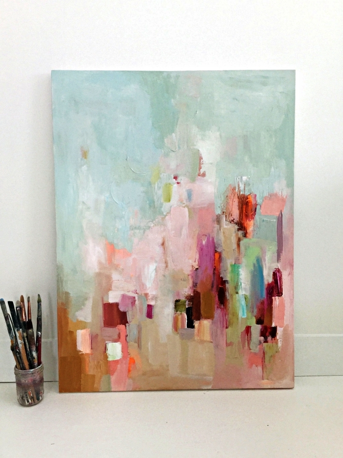peinture artistique abstraite sur toile, tableau abstrait à l'acrylique en tons doux, art contemporain abstrait à l'acrylique