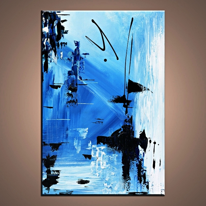 tableau contemporain à l'acrylique en bleu et noir, peinture en toile abstraite à l'acrylique
