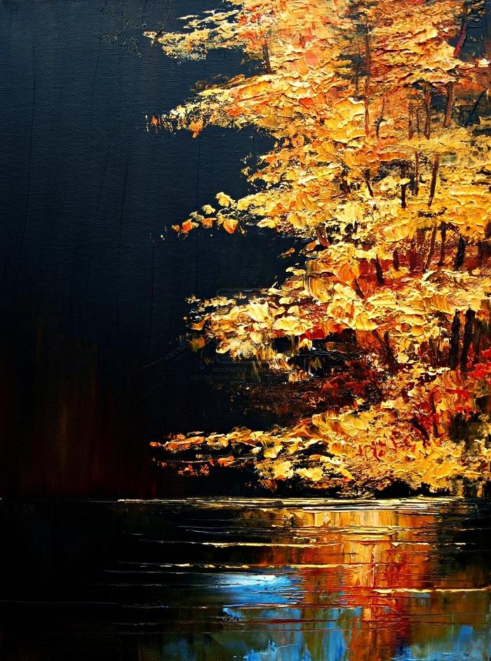 paysage d'automne à l'acrylique en noir et or avec effets de texture, peinture artistique paysage semi-abstrait