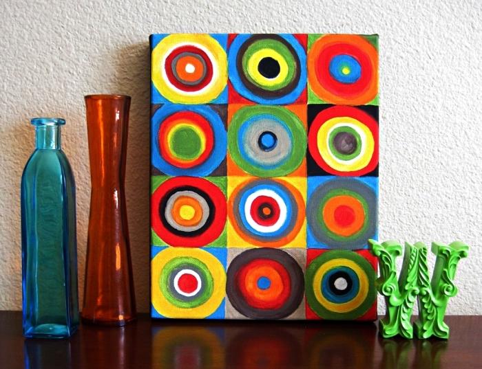peinture moderne sur toile aux formes géométriques multicolore, idée de tableau à l'acrylique sur toile à réaliser soi même