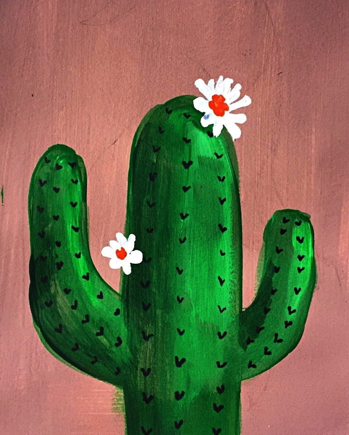 tableau peinture cactus fleuri sur fond rose réalisé à l'acrylique, idée de tableau acrylique facile pour débutants