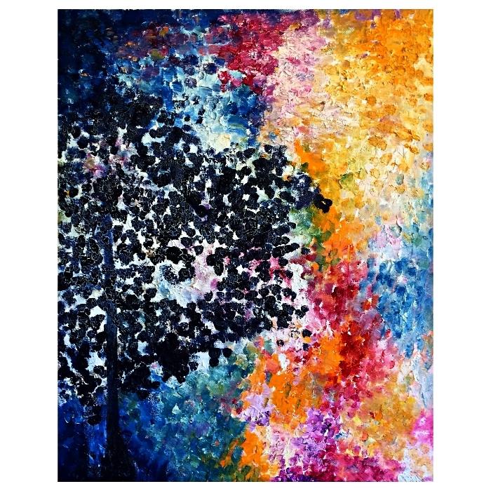 paysage acrylique abstrait en pointillé, peinture artistique en pointillé à l'acrylique, tableau abstrait multicolore