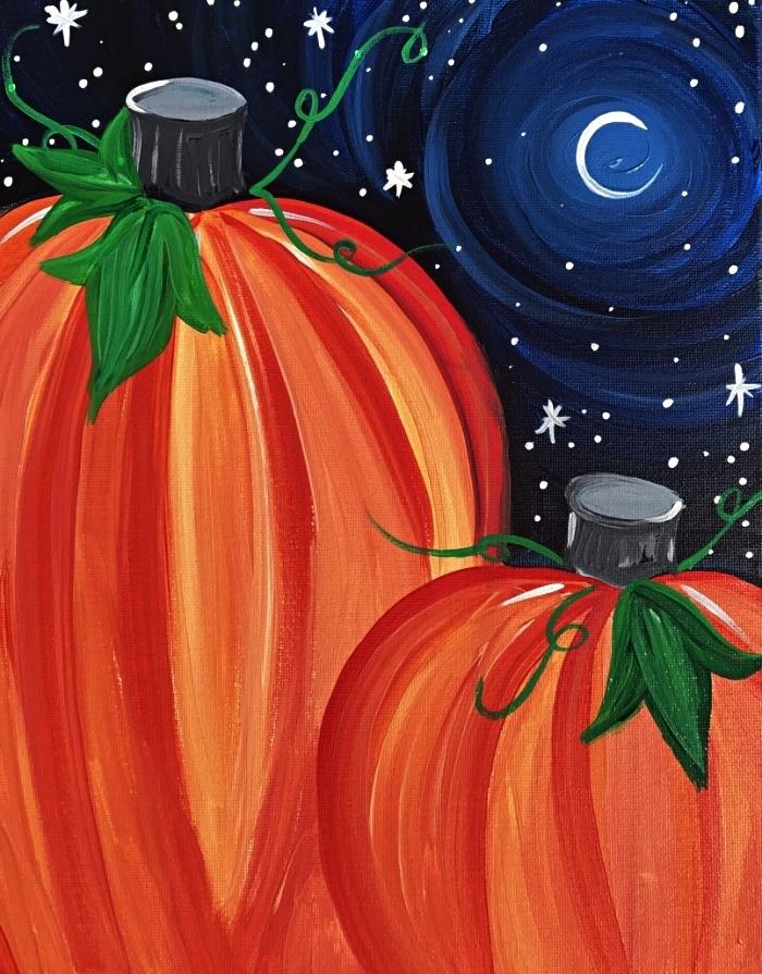 tableau acrylique sur toile citrouilles et ciel nocturne, idée de tableau à l'acrylique facile pour débutants