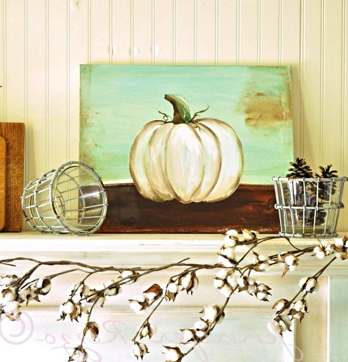 peindre à l'acrylique une nature morte, peinture sur toile citrouille à l'acrylique, tableau citrouille à l'acrylique en déco d'automne originale