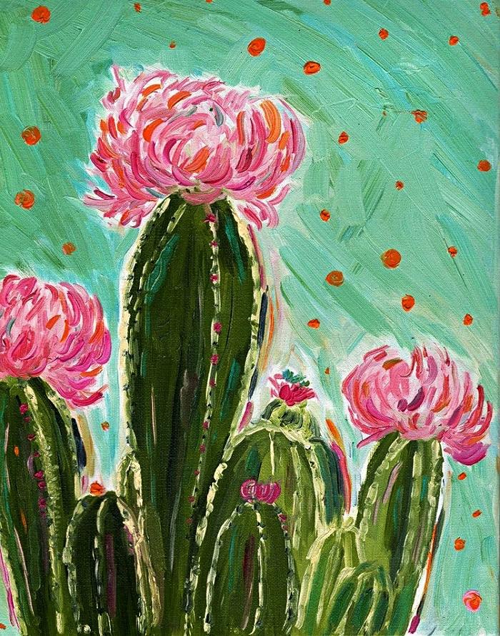 peinture artistique cactus fleuris sur fond vert réalisée à l'acrylique, tableau à l'acrylique facile à réaliser pour débutants