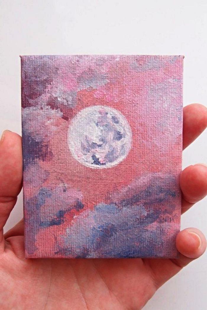 mini-tableau peinture à l'acrylique sur toile, peinture pleine lune sur fond de ciel rose-violet