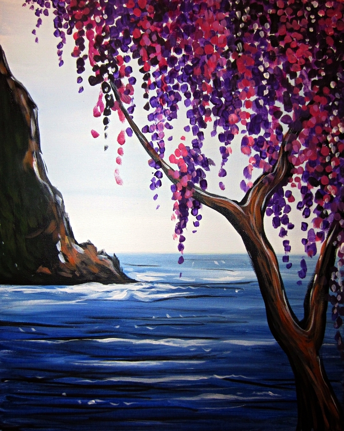 idée de tableau acrylique facile pour débutants, peindre un paysage à l'acrylique, peinture arbre en bord de la mer à l'acrylique