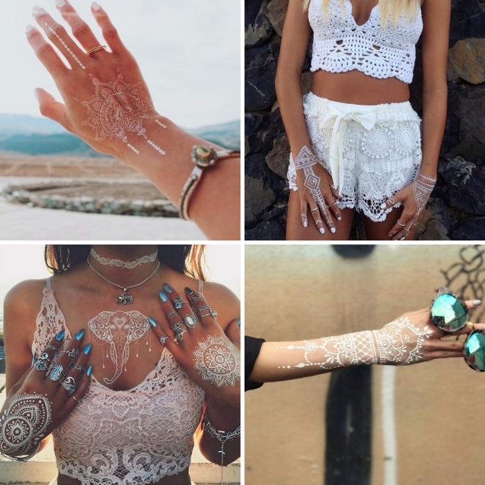 modele henné main à design mandala blanc, idée tatouage corps temporaire avec dessin éléphant mandala sur le décolleté