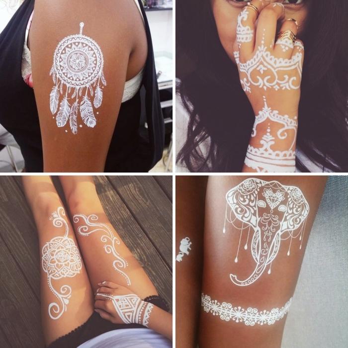 art corporel de style bohème avec tatouage attrape rêve motif henné en blanc, décoration peau aux dessins blancs