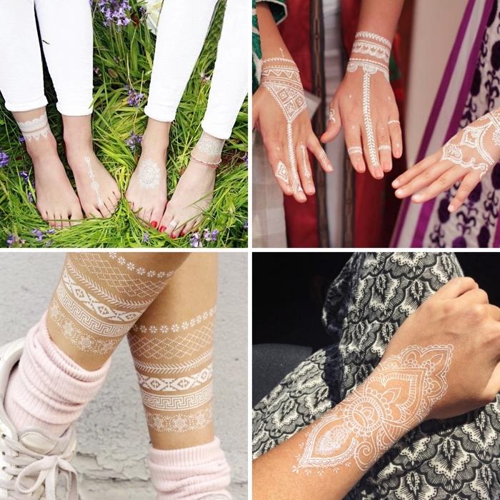 photo de henné à effet bijoux pour mains et pieds, exemple de tatouage temporaire aux motifs mandala blanc sur la main