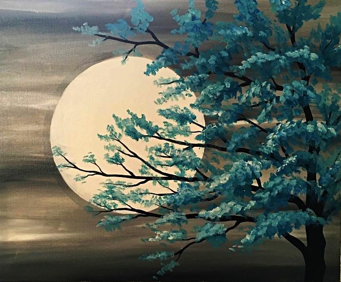 paysage nocturne en gris, blanc et bleu réalisé à l'acrylique, idée de tableau facile à peindre à l'acrylique