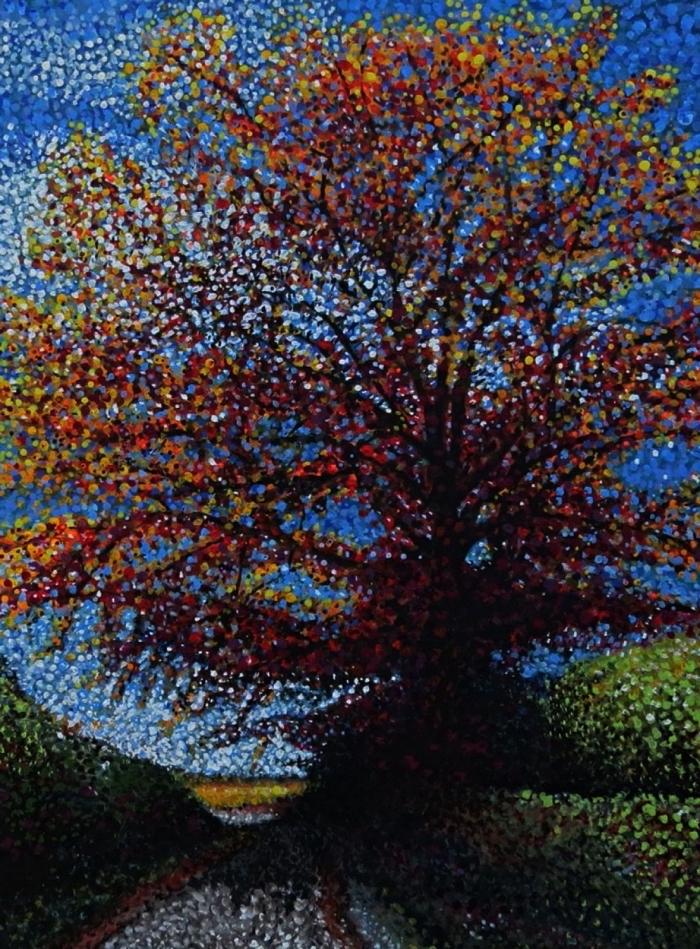 paysage pointilliste à l'acrylique, technique de peinture pour réaliser des tableaux à l'acrylique, peinture sur toile acrylique à faire soi même