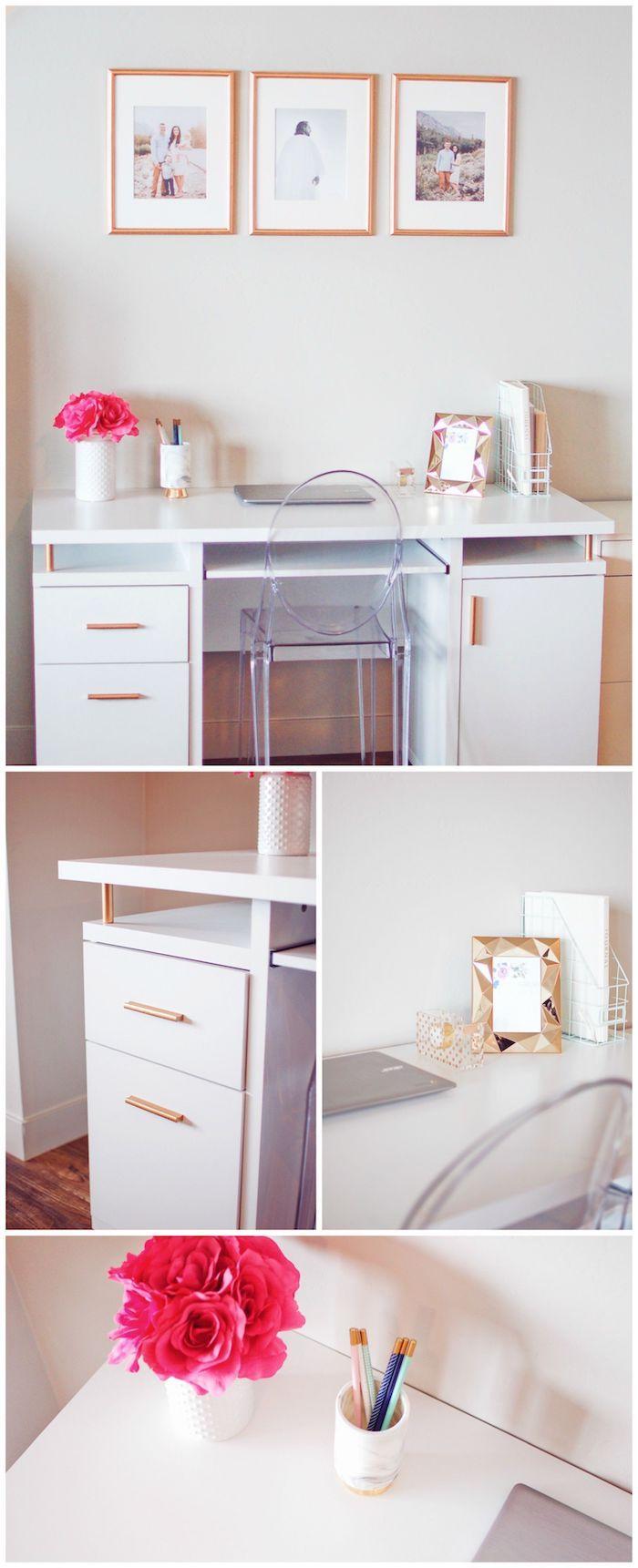 Idée simple deco bureau, ikea rangement bureau, aménagement bureau, vase de fleurs rouges roses ,triptyque photos en cadres bois