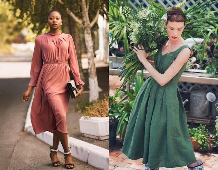 Idée comment bien s'habiller, femme robe mi longue à manche et sans manche, Comment s'habiller bien pour une occasion spéciale, deux belles tenues de soirée modernes