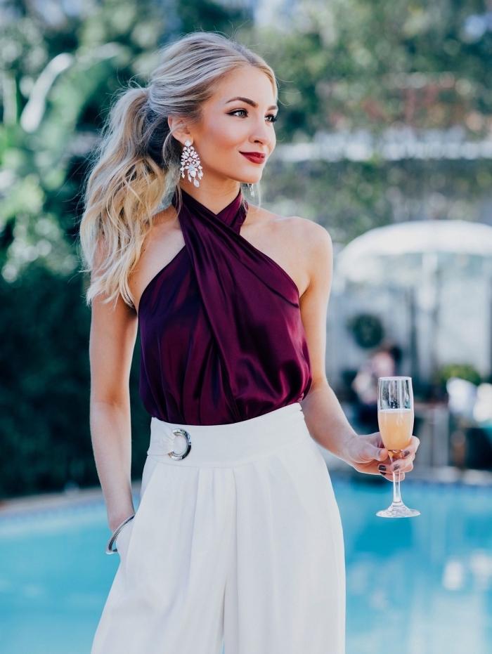 idée de tenue mariage femme pantalon, modèle de pantalon blanc fluide à taille haute pour invitée mariage élégante