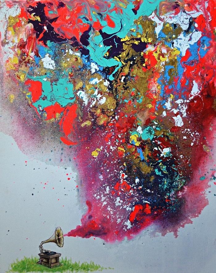 art contemporain semi-abstrait, peinture moderne à l'acrylique phonographe et touches de peinture acrylique