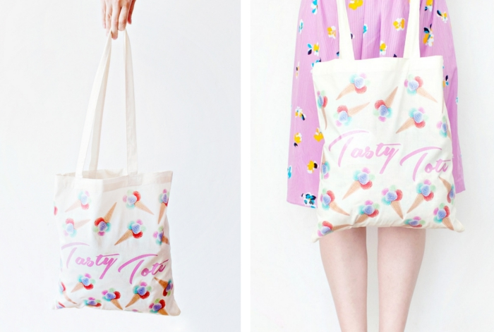 Tote bag couleur pastel, dessin de crème glacé, diy couture, tuto couture, quel modèle de sac cette été