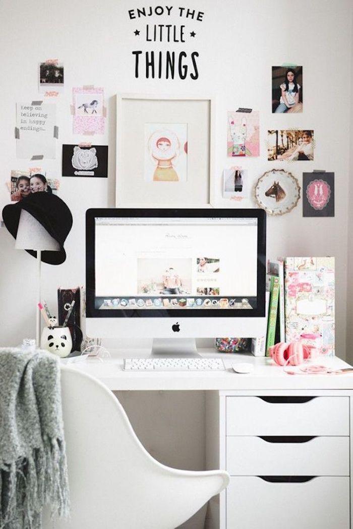 La joie des petits choses, blanc bureau photo bureau, aménagement bureau déco simple et belle