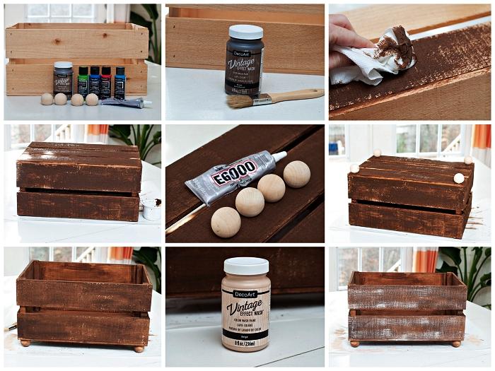 tutoriel pour personnaliser une caisse en bois à l'aide d'un pochoir et de la peinture, caisse de rangement pour organiser les jouets et les livres des enfants