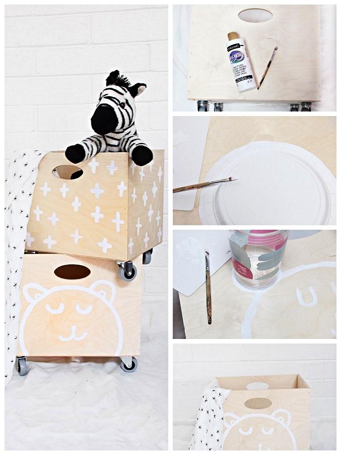 tuto facile pour personnalise un coffre a jouet sur roulettes personnalisé avec des motifs peints en blanc