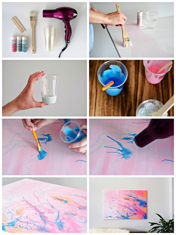 tuto peinture acrylique pour réaliser une toile abstraite, déco murale de tableau à l'acrylique abstrait en rose, bleu et orange