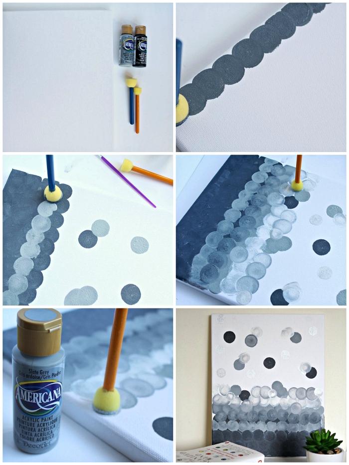 tuto peinture acrylique moderne en nuances du gris, technique de peinture au pinceau-tampon