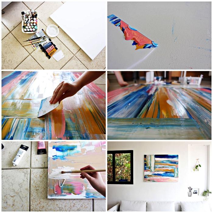 tuto peinture acrylique pour réaliser une grande toile abstraite en rose et camaïeu du bleu, tableau d'art à faire soi même pour décorer le mur du salon