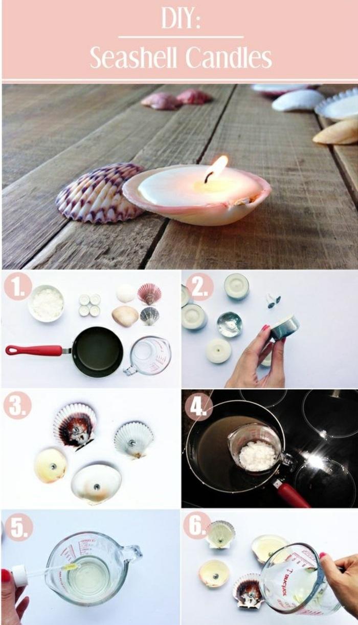 étapes à suivre pour réaliser une bougie coquillage, fabrication de bougie facile et rapide avec cire fondue au bain marie