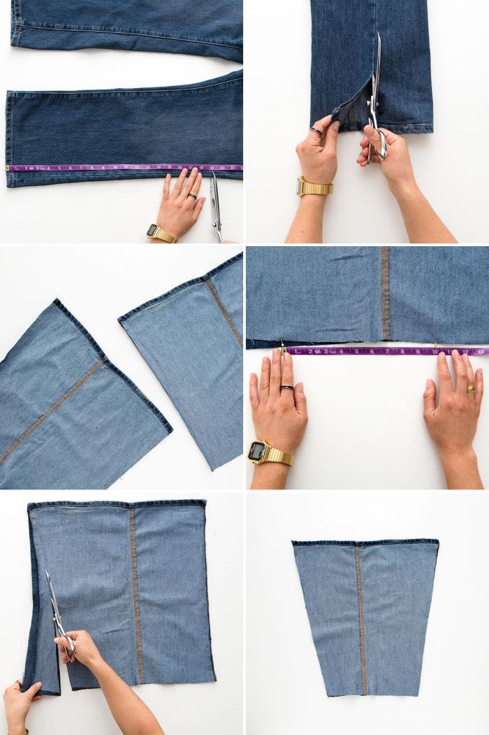 tutoriel comment faire un sac à main en tissu, étapes à suivre pour réaliser un sac de course en jeans recyclés