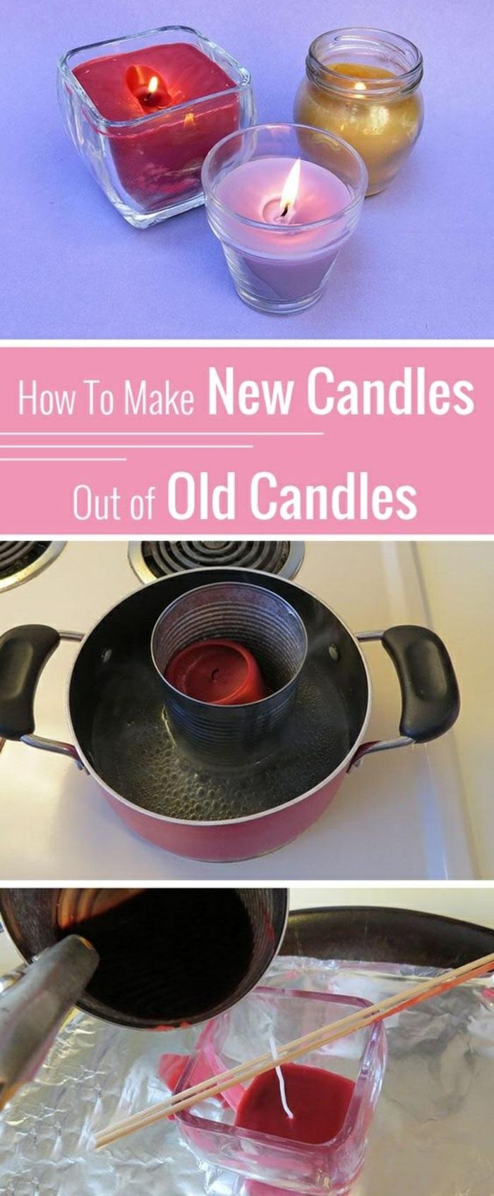 étapes à suivre pour faire une bougie avec restes de bougies, creation bougie facile avec cire bougie au bain marie