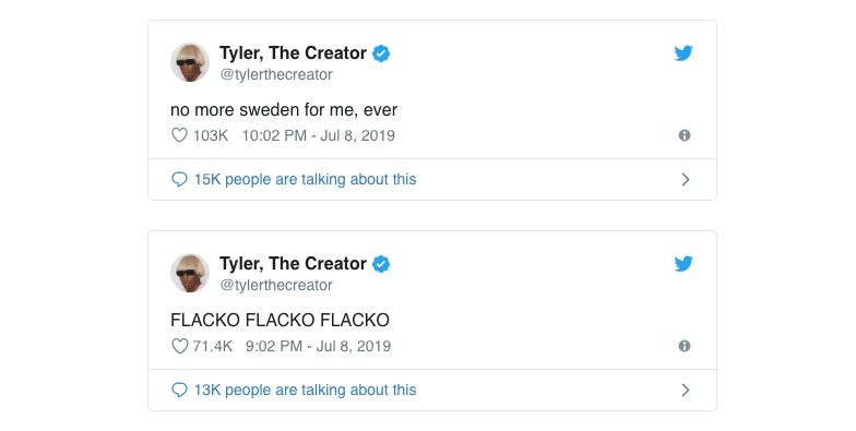 capture écran compte Twitter Tyler, The Creator officiel qui écrit ne plus vouloir se rendre en Suède