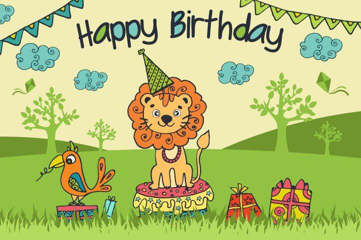 Lion adorable dans un jardin vert, dessin de lion et d'oiseau cadeaux en boites, dessin coloré pour anniversaire, dessin d'anniversaire