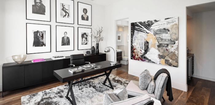 Peinture art abstrait, six photos noir et blanc photographie décoration cabinet, comment décorer son bureau