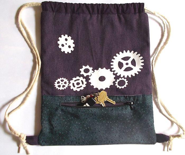 Cool idée diy facile, tuto sac à main, comment faire un sac en tissu, sac à dos simple modele