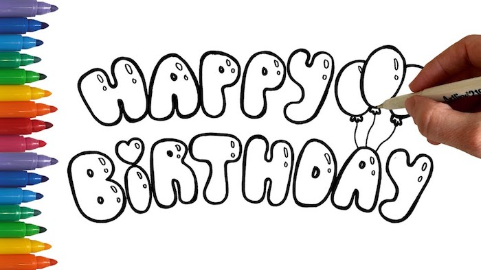 Fond à faire soi-meme, design joyeux anniversaire coloriage de texte, image joyeux anniversaire, dessin d'anniversaire