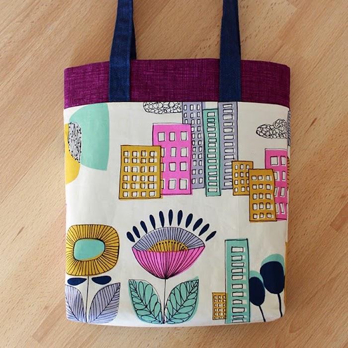 Fleurie sac coloré, bâtiments idee couture pour débutant, tuto sac cabas, modèle de sac