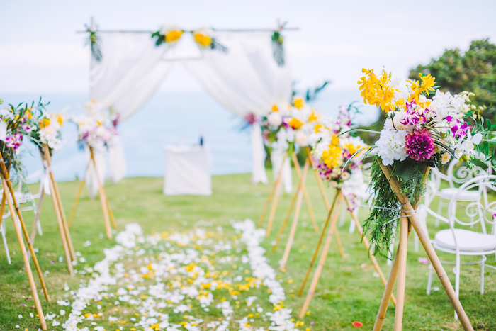 organiser un mariage champetre, idee deco ceemonie mariage exterieur, choisir le thème nature pour son mariage