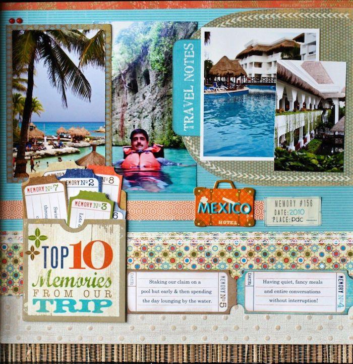Scrapbooking voyage à Mexique, comment faire un carnet de voyage, photos encadrées de washi tape et petits tags de moments à se souvenir de